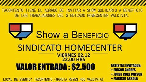 VALDIVIA: SHOW A BENEFICIO SINDICATO HOMCENTER