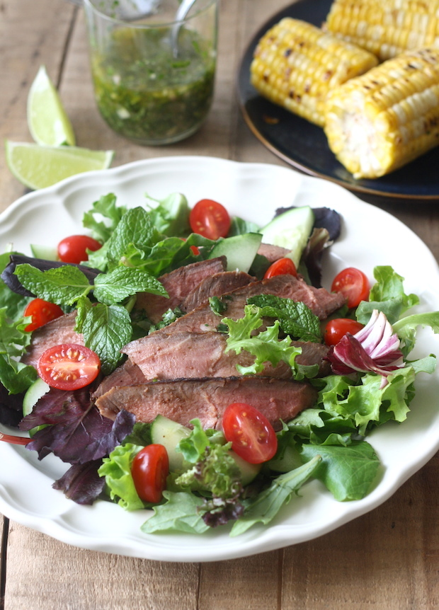 Thai Grilled Steak Salad with Cilantro Lime Dressing by SeasonWithSpice.com