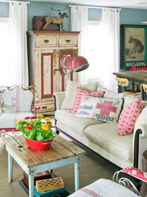 Decoracion vintage industrial retro chic inspiracion almohadones french - Decoracion vintage chic ...