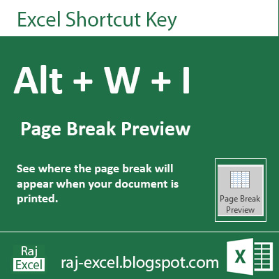 Microsoft Excel 2013 Short Cut Keys: Alt + WI (Page Break Preview)