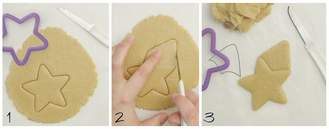 how to cut rocket cookies using a basic star cookie cutter