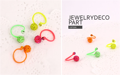 Neon Color Finger rings, Ribbon finger ring, Ball finger ring