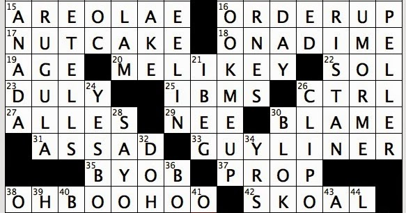 rex parker does the nyt crossword puzzle post passover period sat 1 31 15 his servant is kurwenal in opera cousins of harriers animistic figures