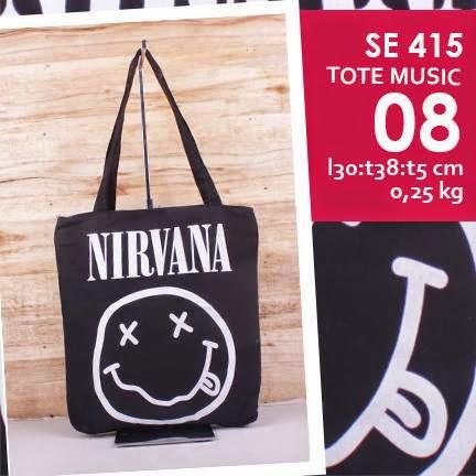 jual online tote bag kanvas murah tema music logo grup band nirvana