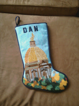 Our customers needlework stocking of our design of the Golden Dome at Notre Dame University