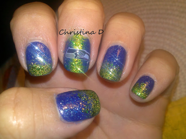 christina makeup seahawks nail