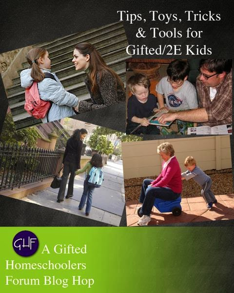 http://giftedhomeschoolers.org/blog-hops/special-tips-toys-tricks-tools-gifted2e/