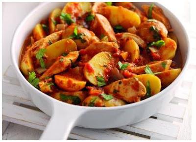 recetas, patatas, pollo, tomate, picantes, chiles, guindillas,