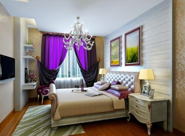 Luxury Bedroom Curtains In Purple Color