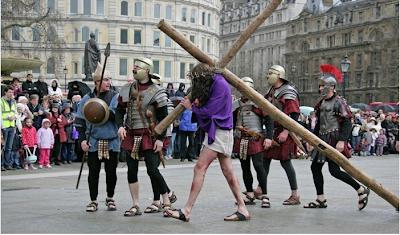 La pasión de Cristo en Trafalgar Square Londres