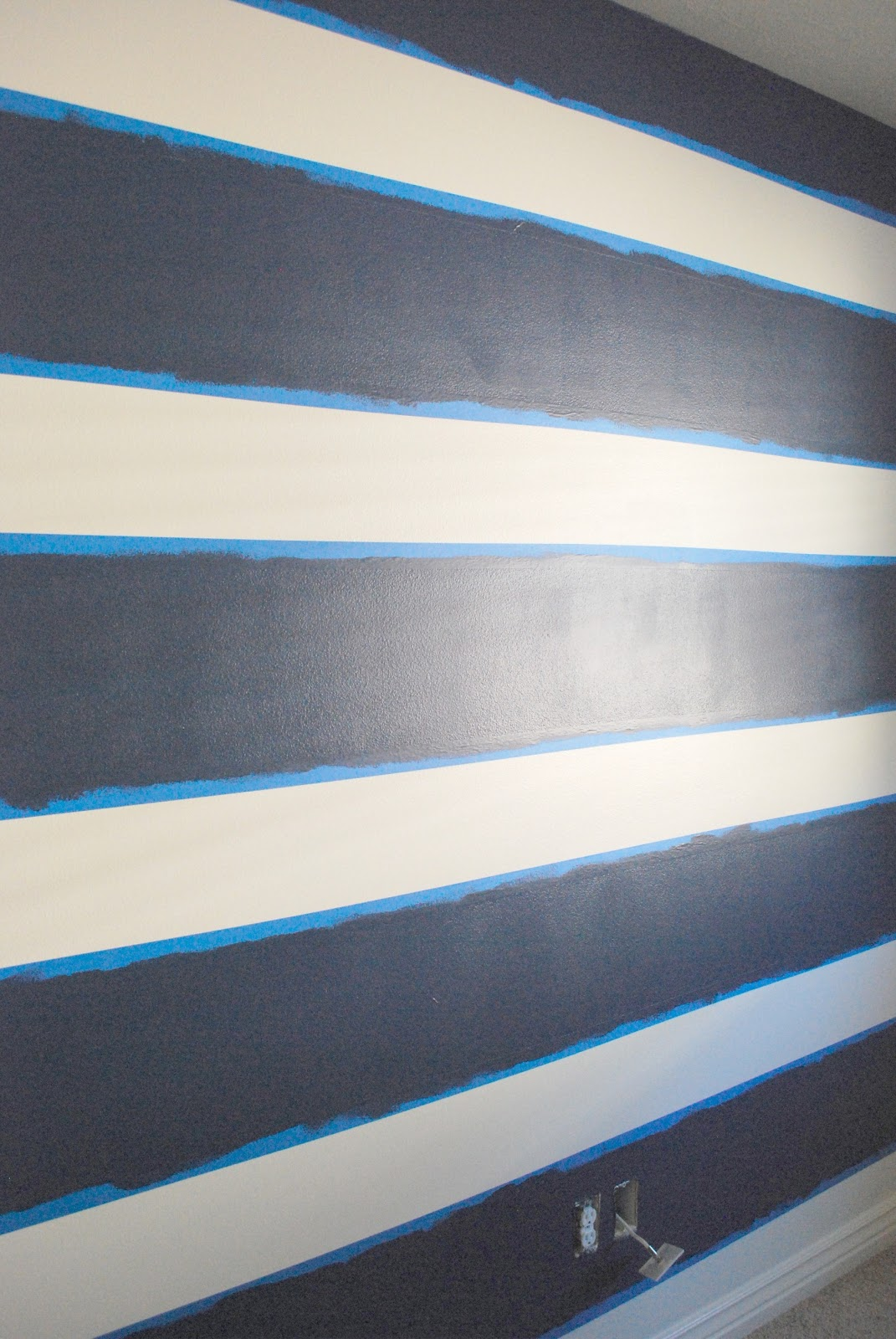 The shabby nest scotch blue painting party a striped for Painting stripes on walls