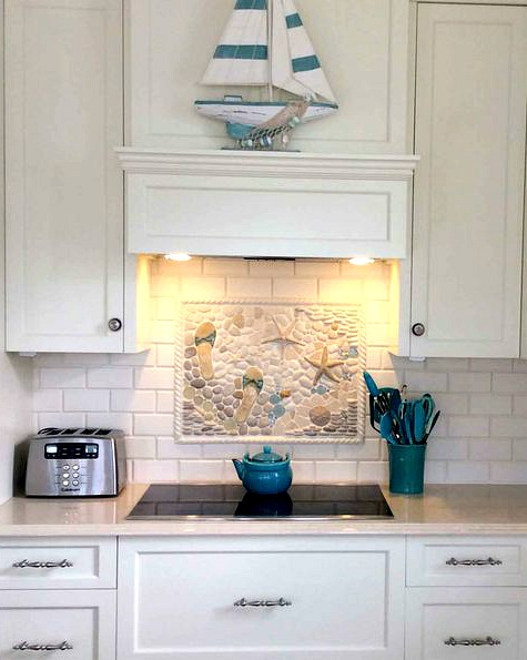 beach mural with tiles. beautiful ideas. Home Design Ideas