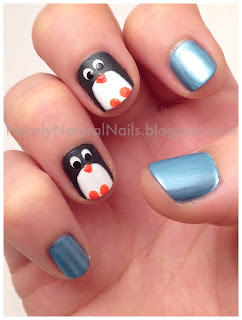 Penguin nail art, Happy Feet 2 manicure, 31 day nail challenge, day 23, inspired by a movie, penguin nails, dotting tool, natural nail polish, vegan nail polish, big 3 free, big 5 free, No-Miss Arcadia Aqua, Zoya Snow White, Zoya Dovima, SpaRitual Street Smart, SpaRitual Solaris, animal nail art