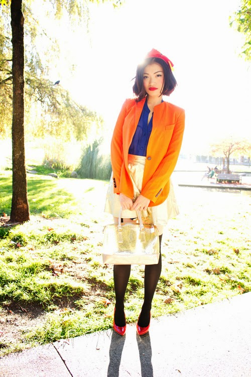 Vancouver Fashion Blogger Jasmine Zhu as modern snow white with Dorcia Glitter Bag from Vanlaced Avenue