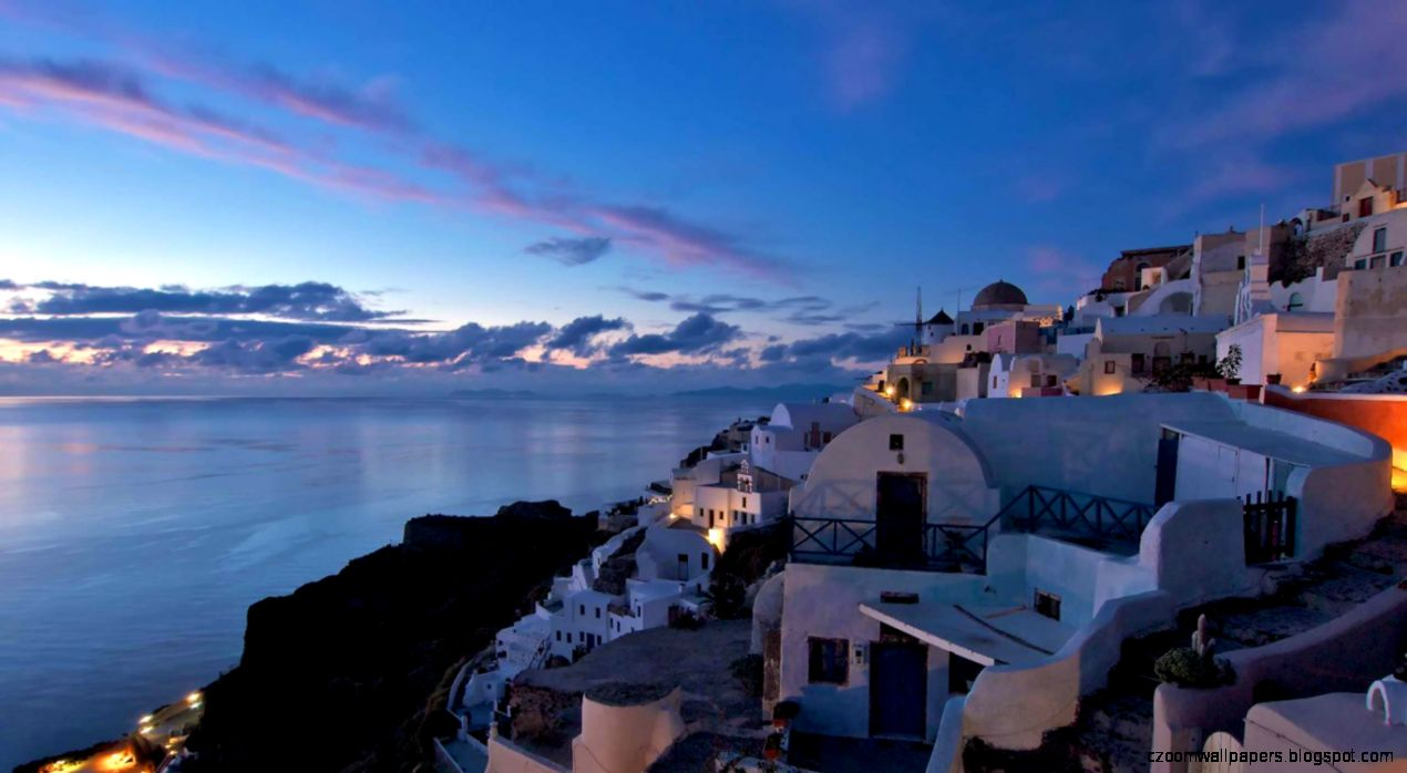 after sunset in the village of Oia Greece  HD Wallpapers