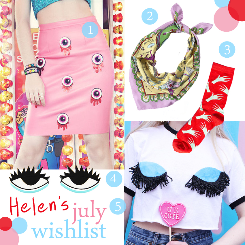 Helen's July Wishlist, Summer Wishlist, Fashion Wishlist, fashion bloggers, independant design, quirky designers, fashion with eyes on, eye print, Never Monday eyeball skirt, Grayson Perry silk scarf, tate modern scarf, Hayley Elsaesser hand socks, Nylon, Dirty Disco, eye crop top, eye earrings