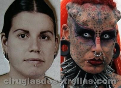 Mujer vampiro antes y después