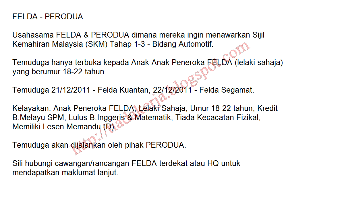 Temuduga Terbuka Felda - Perodua (21-22 Disember 2011)