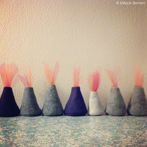 decorative cute small felt stuffed volcanoes