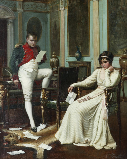 Napoleon and Josephine by Harold H. Piffard, c.1895. The painting show the couple reading letters, which are strewn on the floor. He's leaning on the desk with one foot on a chair. Holding a leaf of paper the expression on his face is one of anger and disappointment. Josephine is seated leaning her head in one hand and she looks extremely sad.