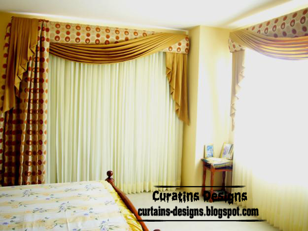 Spanish Blackout Curtain Design For Bedroom, Scarf Curtain Style