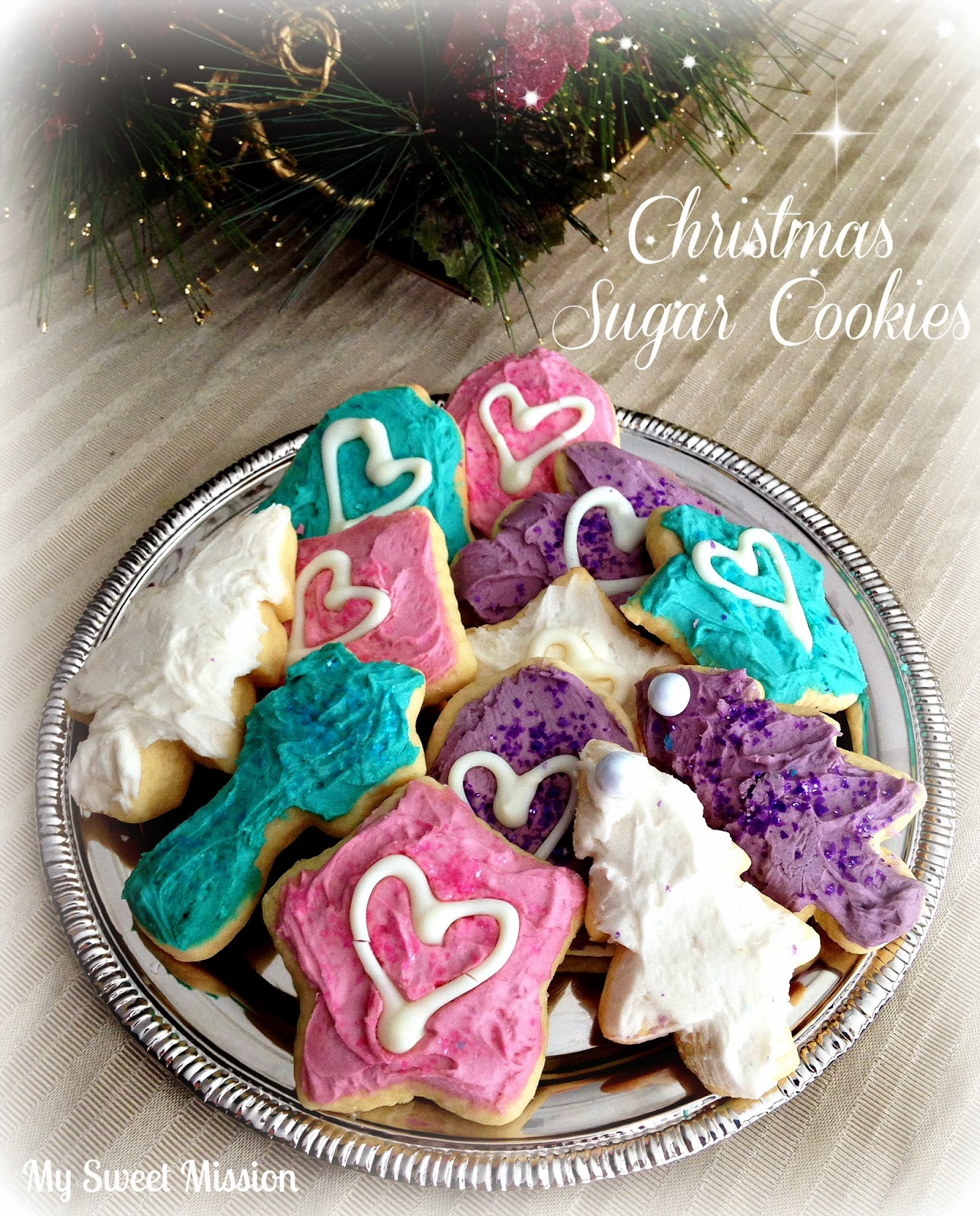 Pretty Christmas Sugar Cookies by My Sweet Mission