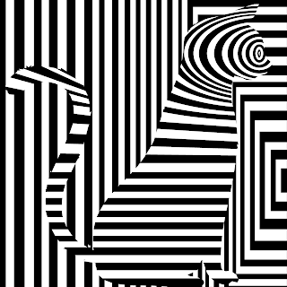 curious cat op art in black and white