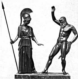 El Grupo de Atenea y Marsias. Escultor griego Miron. Escultores griegos. Obra de Miron. Grecia