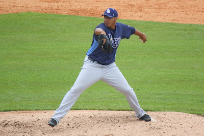 Cesar Cabral on the mound for the Rays