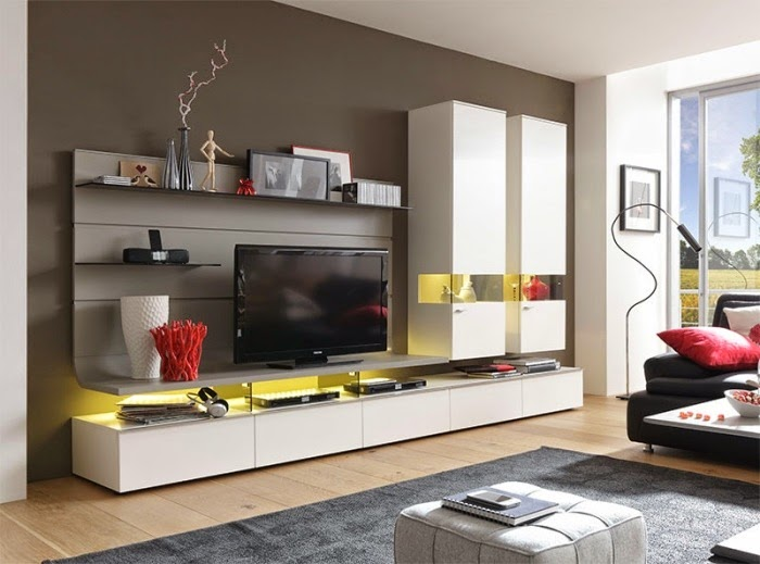 Attrayant Living Room Wall Units With Storage: Built In Closets Provide Storage Space  With Shelves