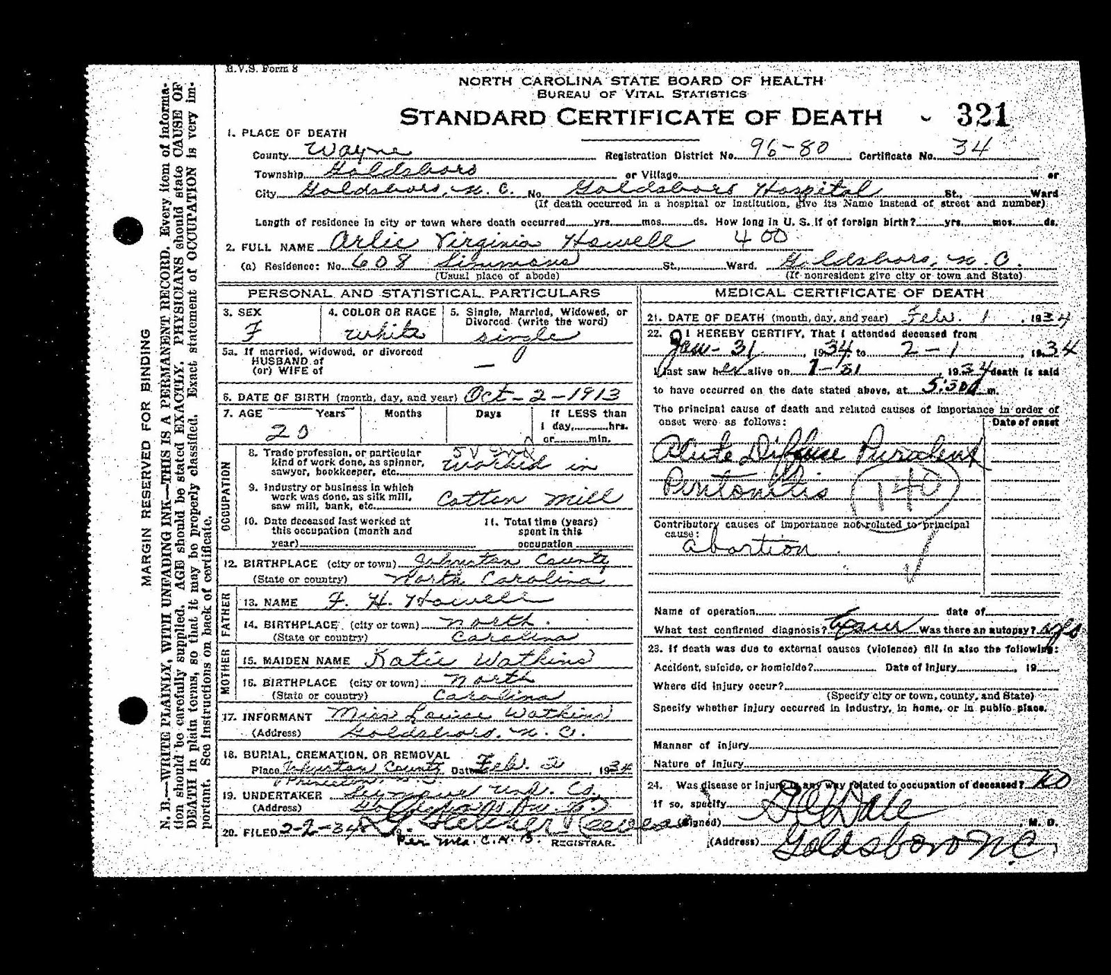 Howell Family Research Arlie Virginia Howell 1913 1934