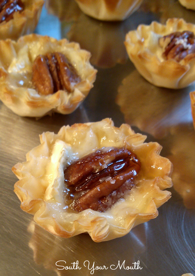 Brie tarts made with mini phyllo cups filled with blackberry jelly or ...