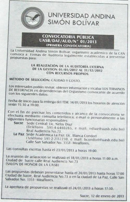Andina Simon Bolivar - Convocatoria Publica Auditoria Externa
