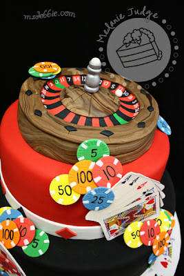 casino roulette poker birthday black red cake