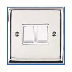 The contractor range P992 Heritage Brass, 2 Gang 2 Way 6A Rocker Switch