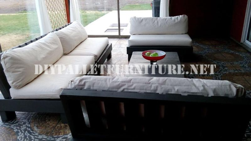set de muebles con palets para la terraza - Terraza Con Palets