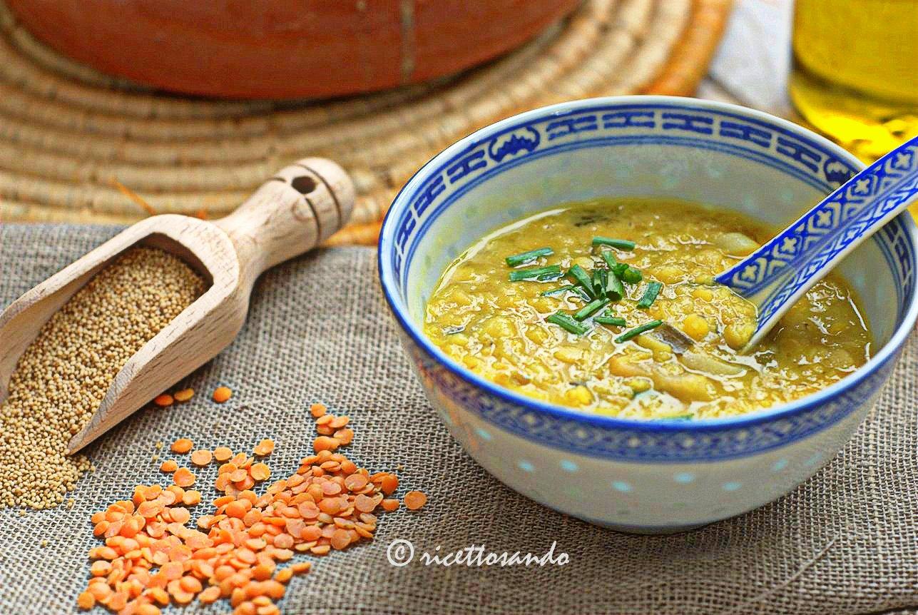 Zuppa di lenticchie e amaranto ricetta dietetica e salutare con zenzero e curcuma