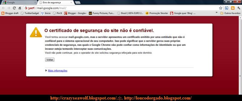 Erro de segurança ou #EpicFail, Google?