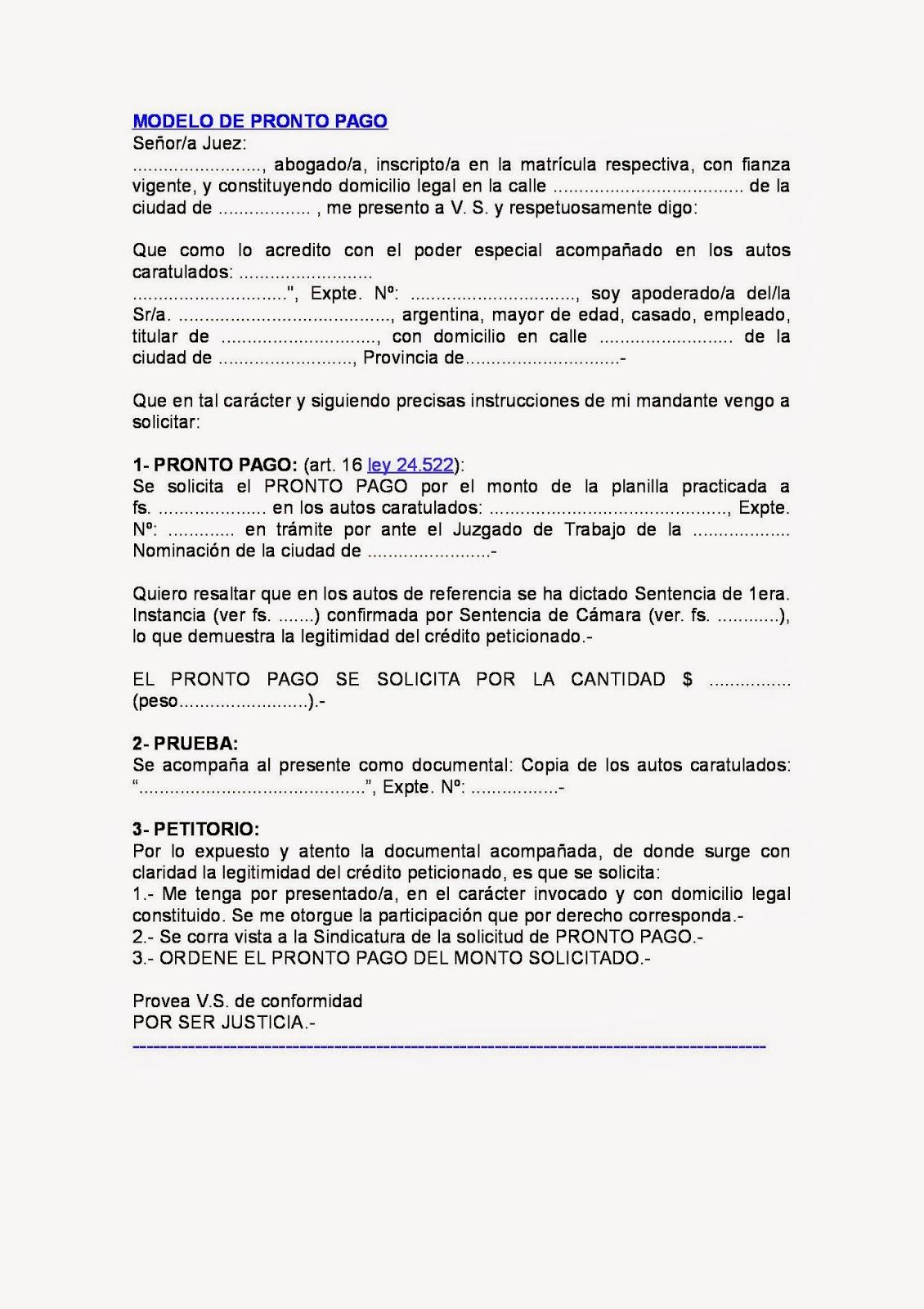 Concursos y quiebras solicitud de pronto pago for Modelo acuerdo extrajudicial clausula suelo