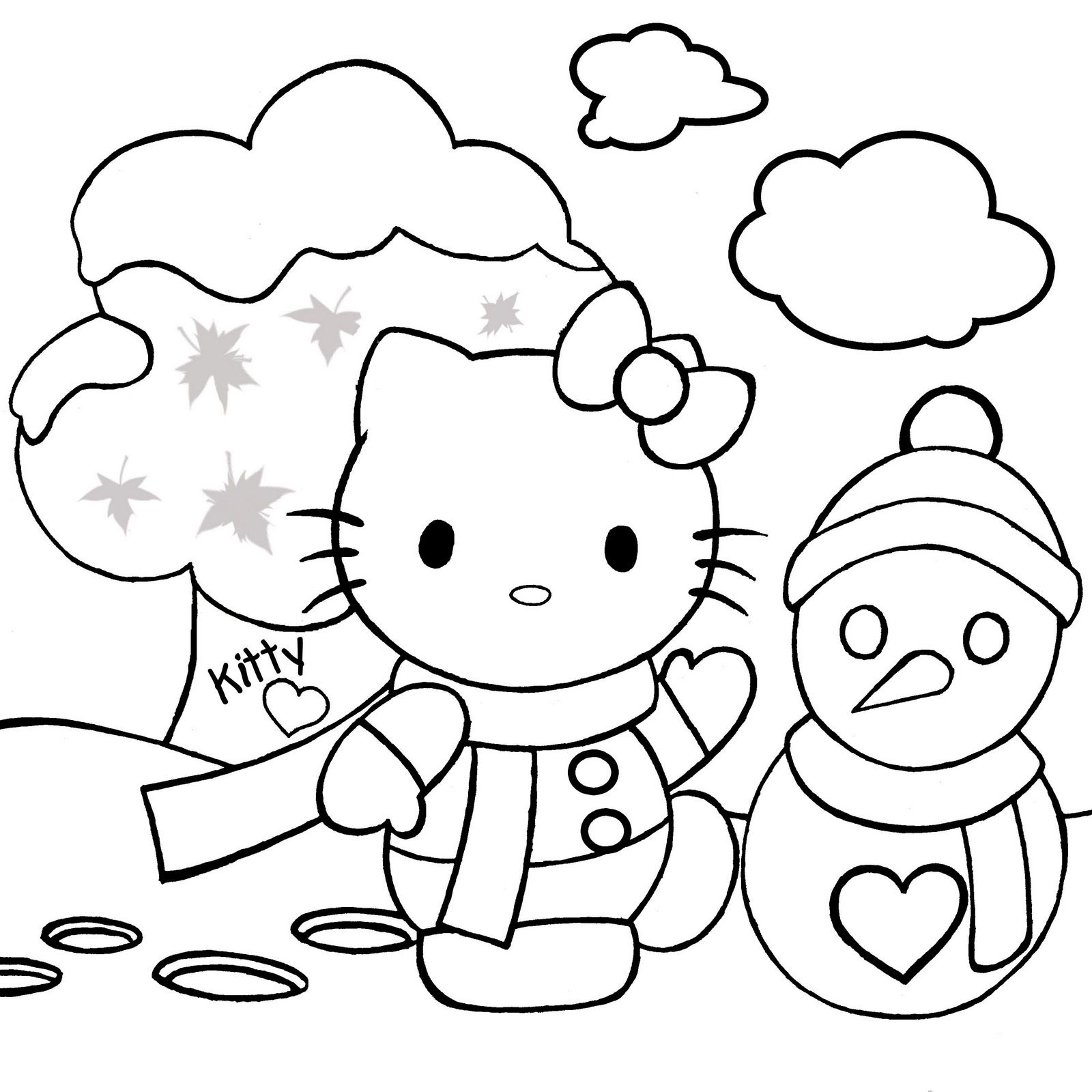 Christmas coloring activities printable - Hello Kitty Christmas Coloring Pages