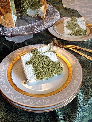 Gluten Free Angel Food Cake with Pistachio Green Tea Swirl