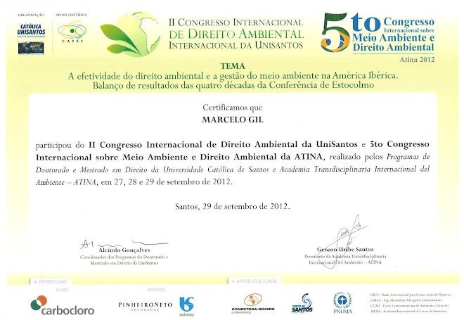 CERTIFICADO CONCEDIDO À MARCELO GIL - II CONGRESSO INTERNACIONAL DE DIREITO AMBIENTAL DA UNISANTOS