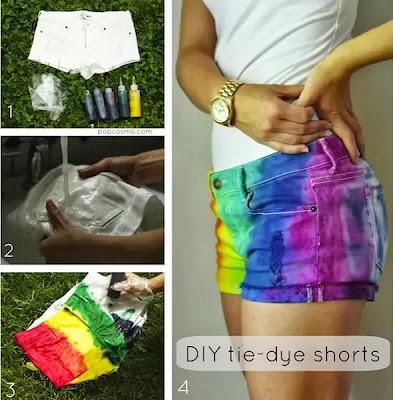 Como fazer tie-dye colorido em shorts passo a passo