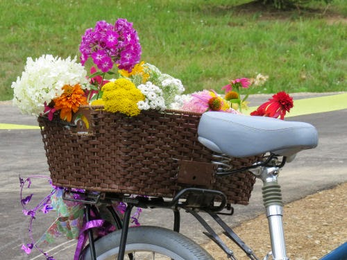 bicycle basket with flowers