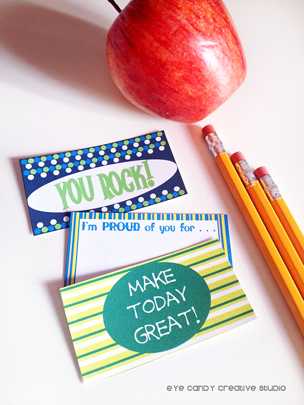 back to school, lunchbox notes, pencils, apple, you rock, i'm proud of you