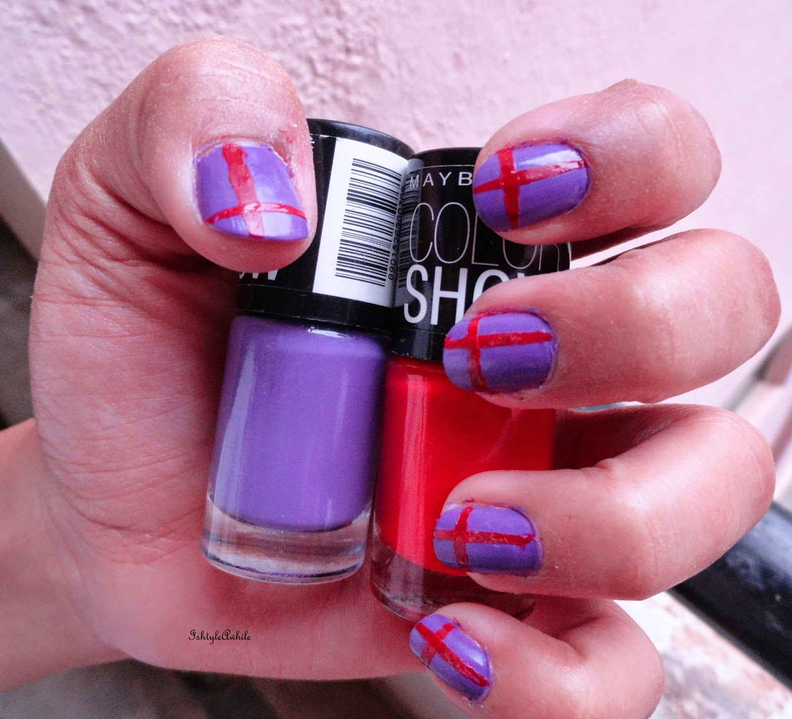 Nail Art: The lines on Lavender. image