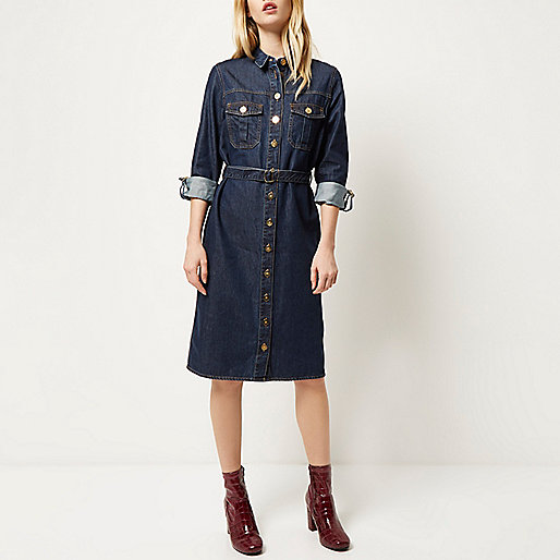 river island denim shirt dress, denim midi shirt dress,