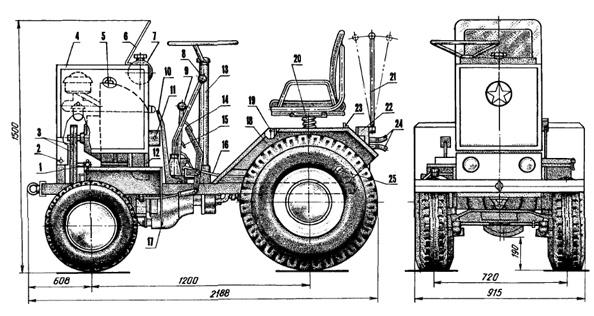 Минитрактор своими руками чертежи с двигателем зид