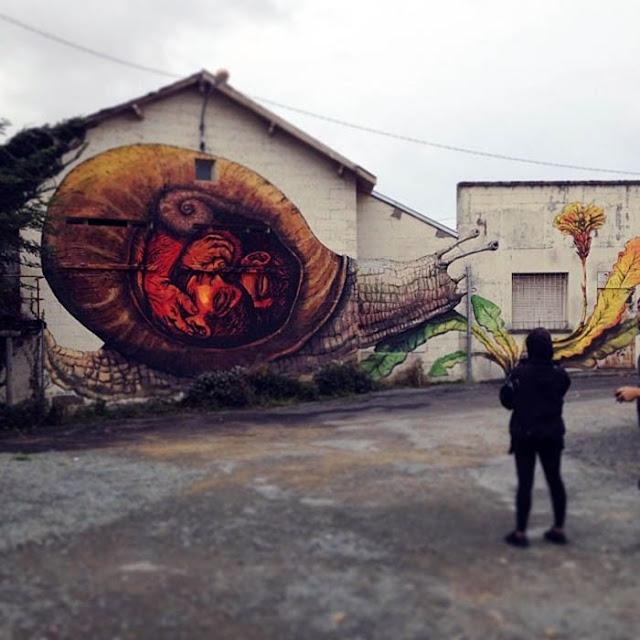 Street Art By Bastardilla and Ericailcane For Le 4eme Mur In Niort, France. 3