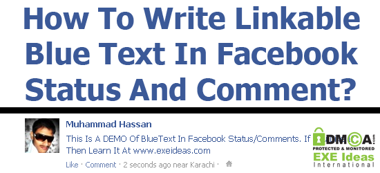 How To Write Linkable Blue Text In Facebook Status/Comment?